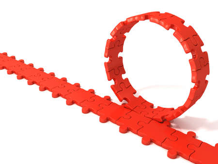 chain reaction: Red puzzle ring rotating over puzzle chain isolated on white background