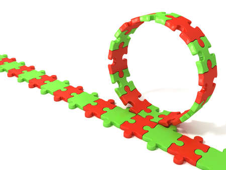 chain reaction: Puzzle ring rotating over puzzle chain isolated on white background