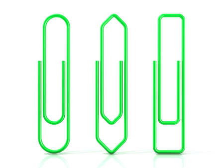 basic shapes: Paper clips isolated over white background Three basic shapes. Green