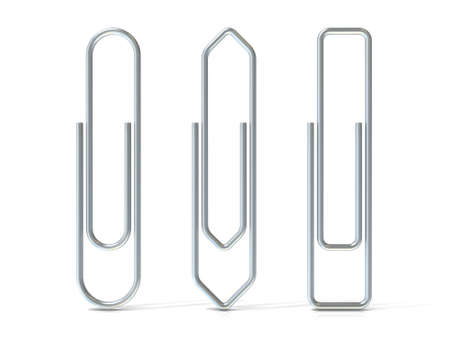 basic shapes: Paper clips isolated over white background Three basic shapes. Silver