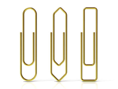 basic shapes: Paper clips isolated over white background Three basic shapes. Brass