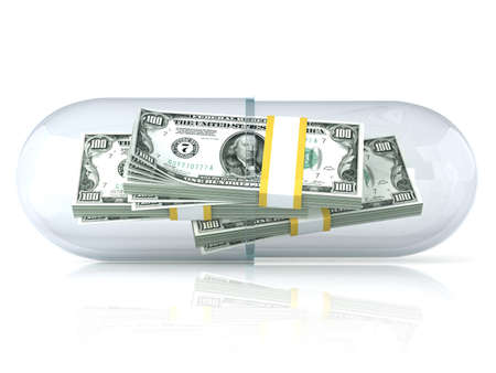 installment: Transparent pill capsule with dollars stack inside. Isolated on white background. 3D render illustration