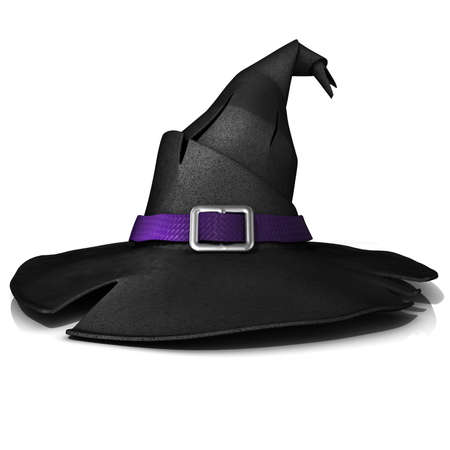 Halloween witch hat. Black hat with purple belt. Isolated on white background