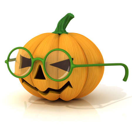 green lantern: Funny Jack O Lantern. Halloween pumpkin with green glasses isolated on white. Side Stock Photo