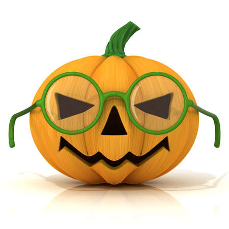 green lantern: Funny Jack O Lantern. Halloween pumpkin with green glasses isolated on white. Front