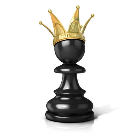 preferment: Black pawn with a golden crown isolated on a white background