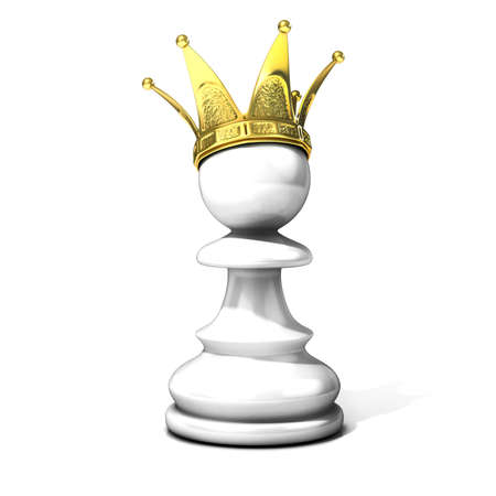 preferment: White pawn with a golden crown isolated on a white background Stock Photo