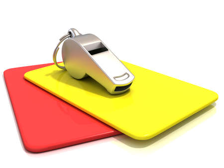 reprimanding: Metal whistle and penalty card isolated on white background. Side view
