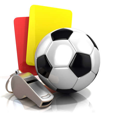 Football concept. Penalty red and yellow card metal whistle and soccer football ball isolated 3D render on white background. photo
