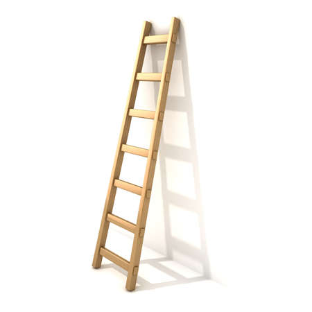 backstairs: Wooden ladder near white wall. 3D render illustration isolated on white background.
