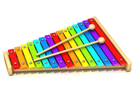 drum sticks: Xylophone with rainbow colored keys and with two wood drum sticks. 3D render isolated on white background. Wooden toy. Percussion instrument. Music art creation concept