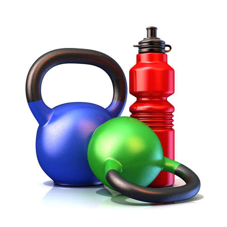shove: Red plastic sport bottles and kettle bells weight isolated on a white background. 3D render illustration. Stock Photo