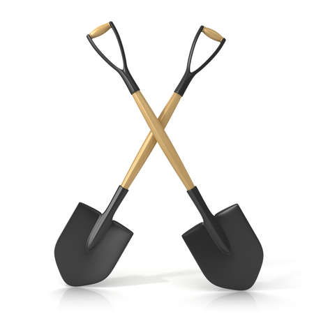 Crossing shovels isolated on white background. 3D render Stock Photo