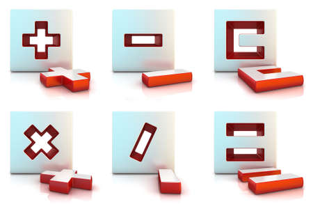 multiply: Plus minus multiply divide equally and clear sign. 3D render illustration isolated on white.