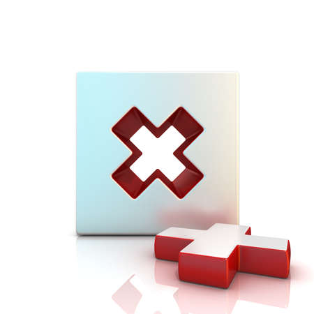 multiplicar: Signo Multiplicar. 3D rinden la ilustración aislada en blanco. Vista frontal