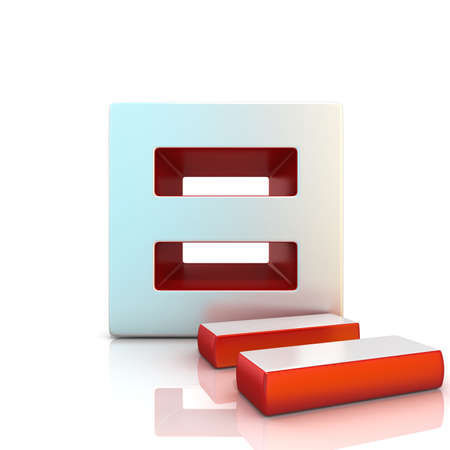 breakout: Equally sign. 3D render illustration isolated on white. Front view