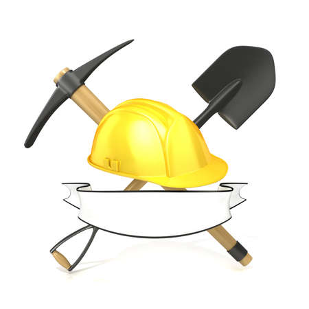 pickaxe: Mining tools, shovel, pickaxe and safety helmet, with blank white ribbon. 3D render illustration, isolated on white background