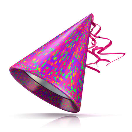 fasching: Party hat. 3D illustration of purple hat with colorful rectangular pattern.