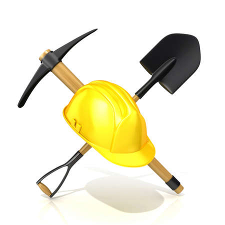 pickaxe: Mining tools shovel pickaxe and safety helmet. 3D render illustration isolated on white background