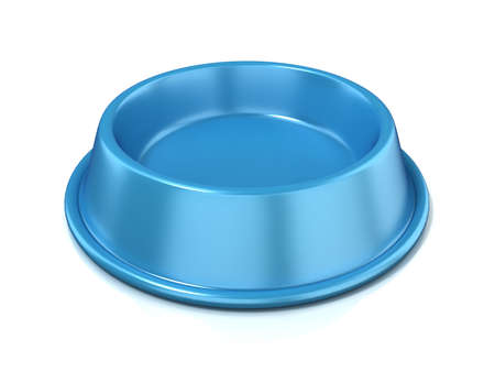 Blue empty pet bowl, 3D render illustration, isolated on white background