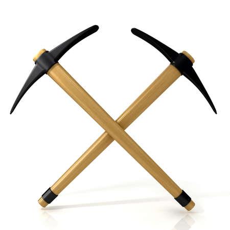 exploit: Pickaxes crossed. 3D render illustration isolated on white background