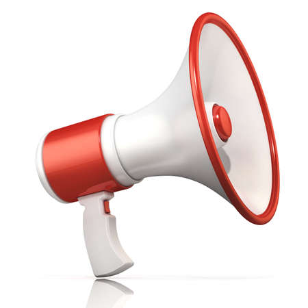 Red and white megaphone 3D rendering isolated on white background.