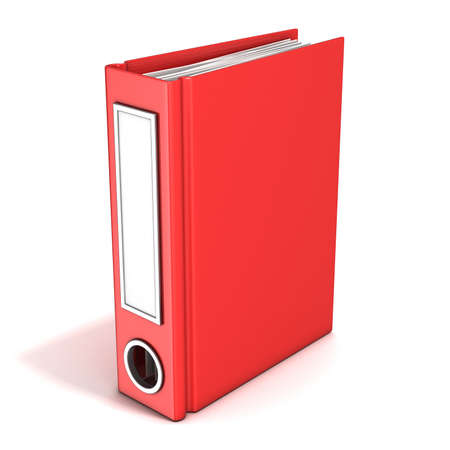 looseleaf: Red office folder standing. 3D render illustration isolated on white background Stock Photo