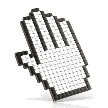 Cursor open hand. 3D render illustration of pan hand isolated on white background