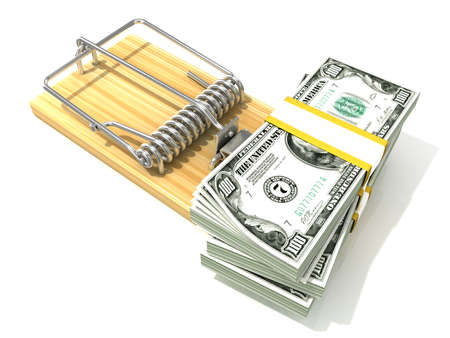 Stack of hundreds dollars like bait in wooden mousetrap. 3D rendering illustration isolated on white background. Reklamní fotografie