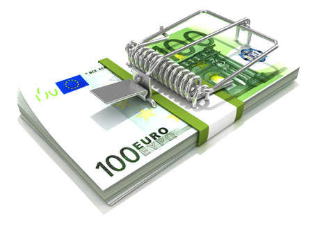 torment: 3D render mousetrap installed on euro banknote stack isolated on a white background.