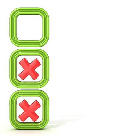 incorrect: Check boxes with incorrect check mark. Isolated on white background. Stock Photo