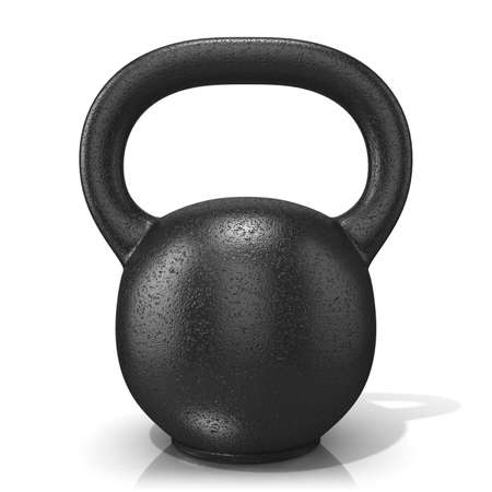 cast iron: Rough cast iron kettle bell weight, isolated on a white background. 3D render illustration.