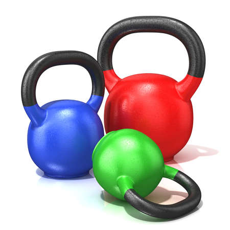 Red, green and blue kettle bells weights isolated on a white background. 3D render illustration.