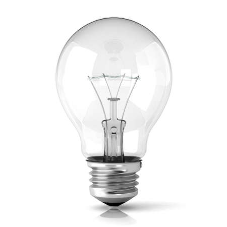 over voltage: Light bulb. 3D render illustration isolated on white background. Stock Photo