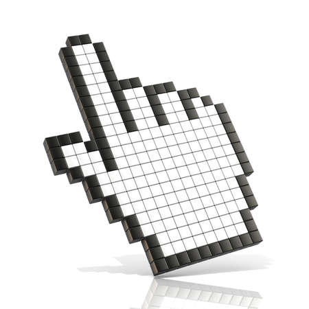 pixelation: Cursor hand. 3D render illustration of hand pointer isolated on white background