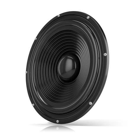 hertz: 3D render illustration of loudspeaker. Isolated on white background. Side view. Stock Photo