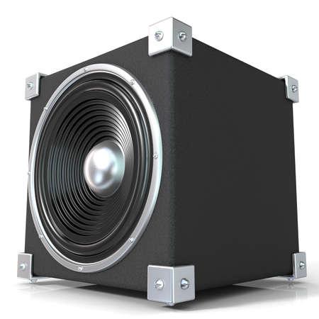 PARLANTE: Altavoz audio negro. 3D rinden la ilustración aislada en el fondo blanco. Vista lateral.