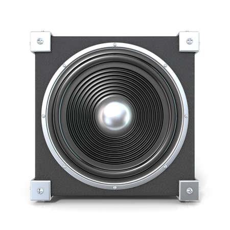 decibel: Black audio speaker. 3D render illustration isolated on white background. Front view.