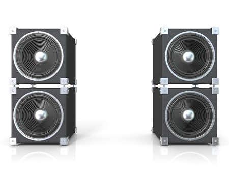 PARLANTE: Dos pares de altavoces de sonido. 3D rinden la ilustración aislada en el fondo blanco.
