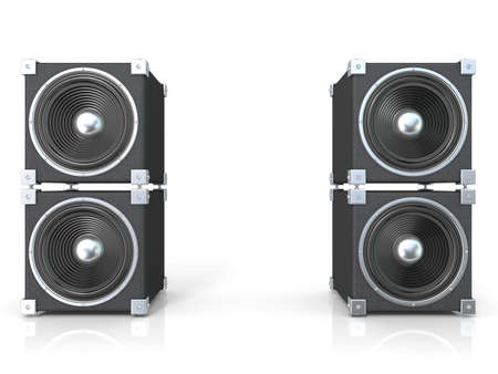 speaker box: Two pairs of sound speakers. 3D render illustration isolated on white background.