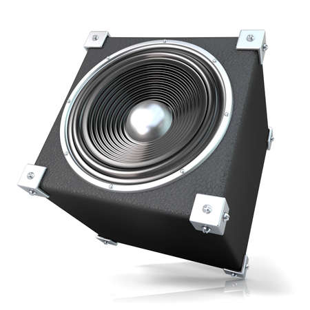angled: Black audio speaker. 3D render illustration isolated on white background. Side, angled view. Stock Photo