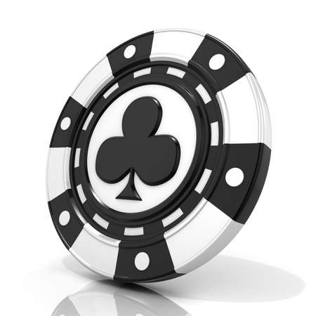 gambling chip: Black gambling chip with club sign on it. 3D render isolated on white background Stock Photo