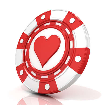 gambling chip: Red gambling chip with heart sign on it. 3D render isolated on white background