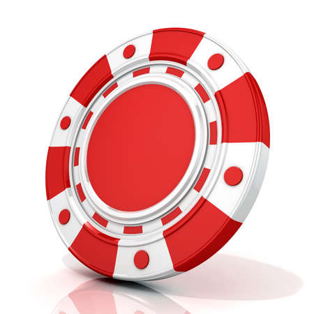 gambling chip: Red gambling chip. 3D render isolated on white