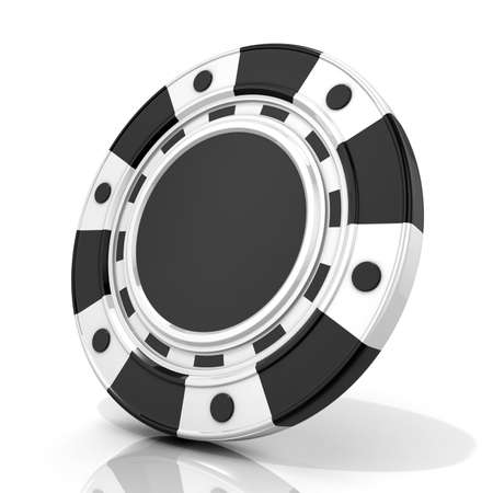 Black gambling chip. 3D render isolated on white Stock Photo