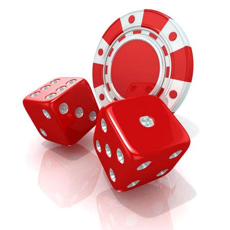 fichas casino: Fichas de juego y dados rojos. 3D render aislado en blanco