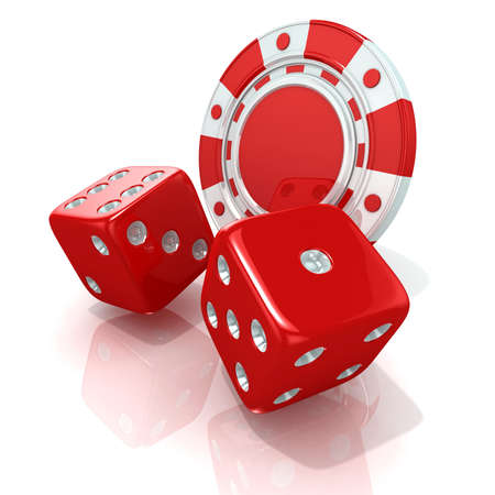 casino chips: Red gambling chips and dices. 3D render isolated on white Stock Photo