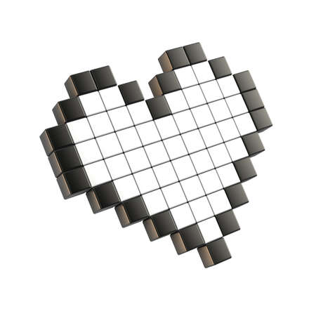 cordial: White pixel heart. 3D render illustration. Isolated on white