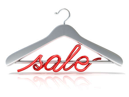 rack: Silver clothes hangers with red sale sign, 3D render isolated on white background. Front view