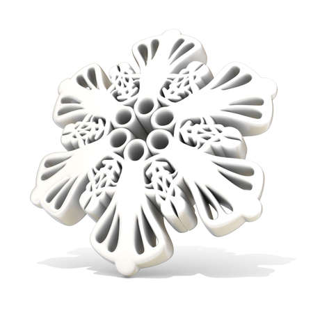 clear day in winter time: Ornamental, white snowflake, 3D render illustration isolated on white background. Side view Stock Photo